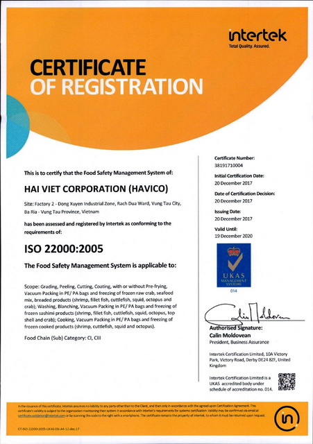 ISO 22000 (Food Safety Management System)