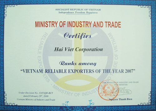 Ranks among - VIETNAM RELIABLE EXPORTERS OF THE YEAR 2007
